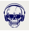 Skull sketch with headphones vector image