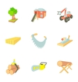 Firewood icons set cartoon style vector image