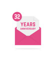 32 years anniversary icon in open letter vector image