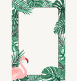 border frame green tropical leaves pink flamingo vector image