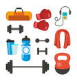 fitness icons set sport tools accessories vector image