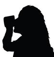 girl drinking from a cup black silhouette vector image