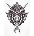 Hand drawn portrait of a horned moon deamon vector image