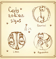 Sketch cats zodiac signs in vintage style vector image