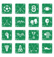 sport equipment icons set grunge vector image