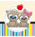 two cute cartoon owls vector image