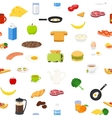 Breakfast food and drinks seamless pattern vector image