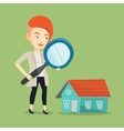 Woman looking for house vector image vector image