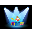 Gift boxes with spotlights vector image vector image
