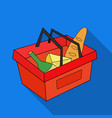 shopping basket full of groceries icon in flate vector image