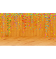 falling color confetti in wooden room vector image vector image