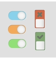 toggle switch icons and check mark vector image vector image