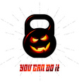 One black kettlebell with evil smile and vector image