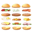 Burgers ingredients fastfood set in vector image