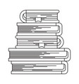 sketch silhouette of stack of books with bookmark vector image