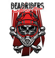skull morocross rider with crossed bones vector image