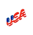 USA letters with american flag texture icon vector image