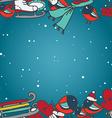 Winter seamless border with bullfinches and sleds vector image