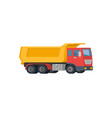 yellow dump truck with red cabin isolated on white vector image