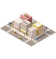 isometric low poly town street with vector image
