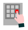 Hand pressing red button vector image