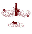 Grape and a wine bottle vector image vector image