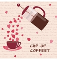 Card with coffee and hearts vector image