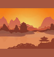 Cartoon oriental chinese card poster vector image