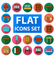 furniture and interior flat icons in set vector image