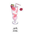 glass of milk shake with straw watercolor vector image