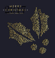 Gold Christmas and new year ornamental mistletoe vector image