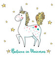 greeting card with cute unicorn and stars vector image