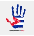Handprint with the Flag of Cuba in grunge style vector image