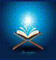 muslim quran with magic light for ramadan of islam vector image