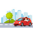 riding on the car happy woman rides car in city vector image