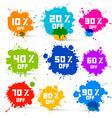 Transparent Colorful Discount Sale Splashes Set vector image