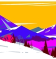image of colorful stylized mountains with trees vector image