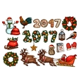 Christmas and New Year winter holiday sketch set vector image vector image