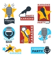 Karaoke club and bar labels design vector image