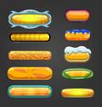 Set of orange button for game design vector image