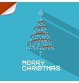 Blue Merry Christmas Background With Paper Tree vector image