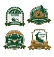Hunting club shields icons set vector image