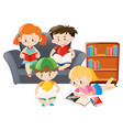 kids reading books in the room vector image