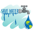Save water theme with earth and faucet vector image