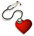 Heart and stethoscope vector image vector image
