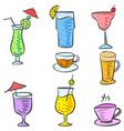 cartoon design drink doodle set vector image