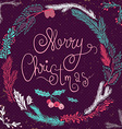Merry Christmas Card Christmas Wreath Christmas vector image