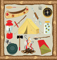 camping icons and elements vector image vector image