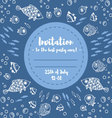 Cute summer fishes invitation vector image