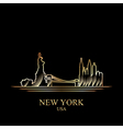 Gold silhouette of New York on black background vector image
